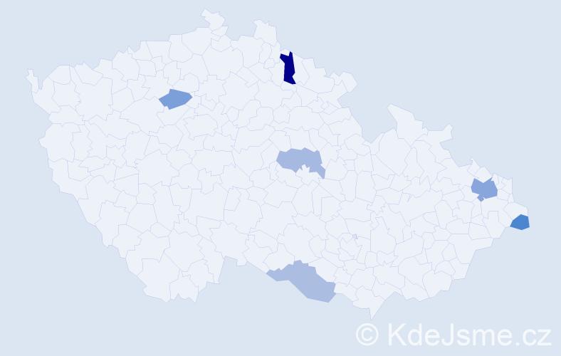 Příjmení: 'Habiňák', počet výskytů 10 v celé ČR