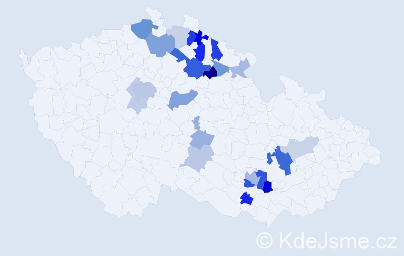 Příjmení: 'Gotvald', počet výskytů 54 v celé ČR