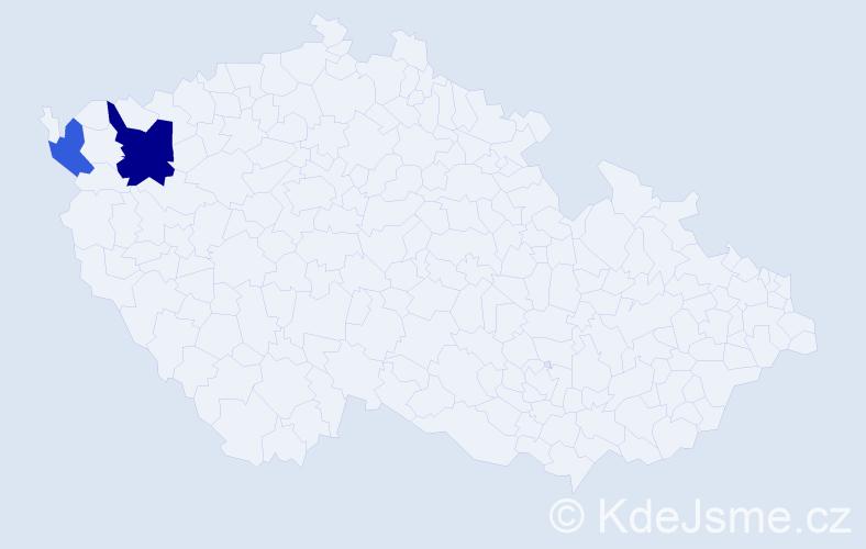 Příjmení: 'Hustovský', počet výskytů 7 v celé ČR