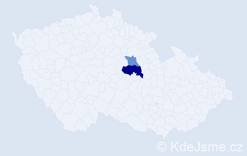 Příjmení: 'Hajšínková', počet výskytů 3 v celé ČR