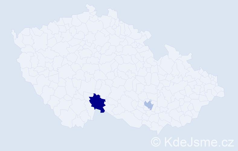 Příjmení: 'Jakobartl', počet výskytů 5 v celé ČR