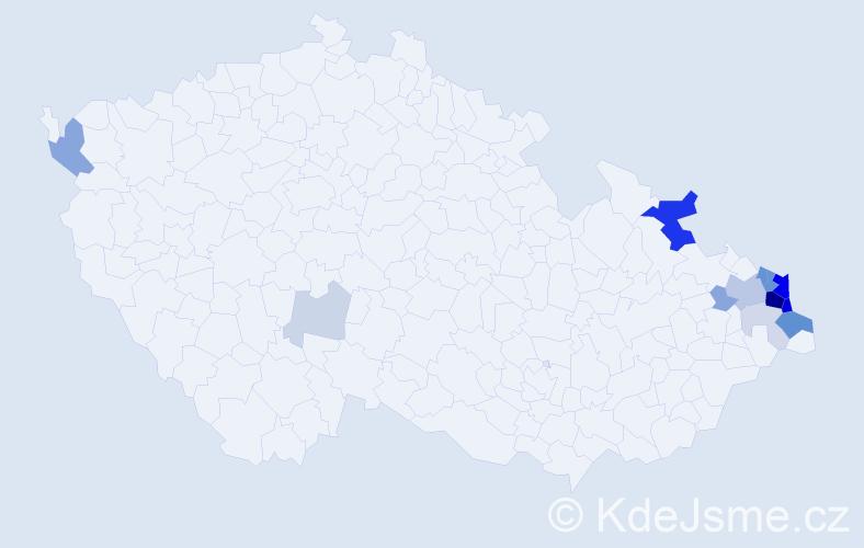 Příjmení: 'Kniezek', počet výskytů 51 v celé ČR