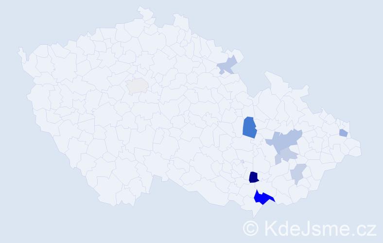 Příjmení: 'Hrnek', počet výskytů 20 v celé ČR