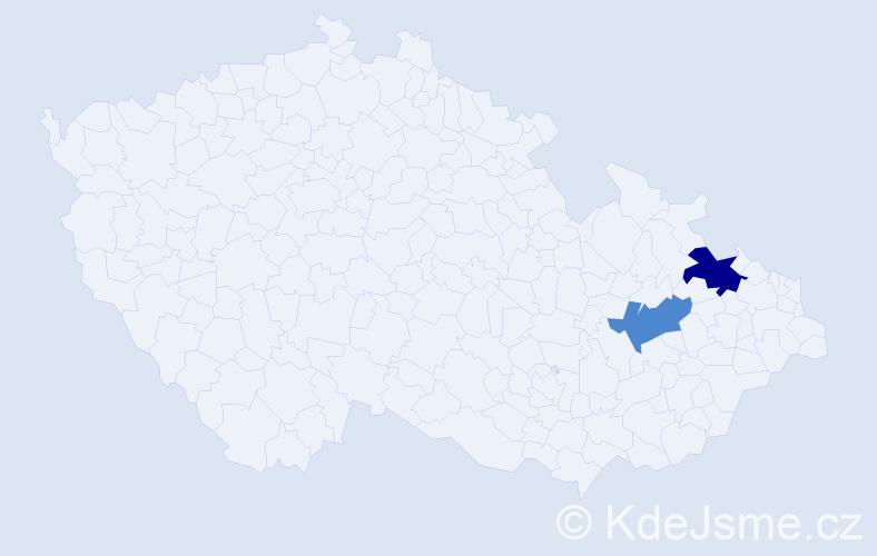 Příjmení: 'Kollárovits', počet výskytů 5 v celé ČR