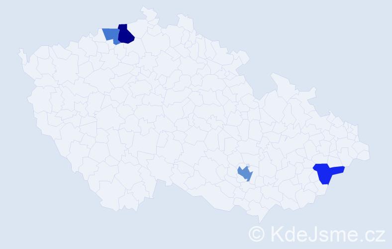 Příjmení: 'Asaad', počet výskytů 6 v celé ČR