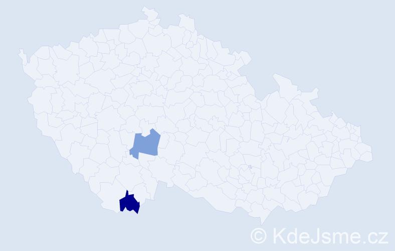 Příjmení: 'Ďibďák', počet výskytů 2 v celé ČR