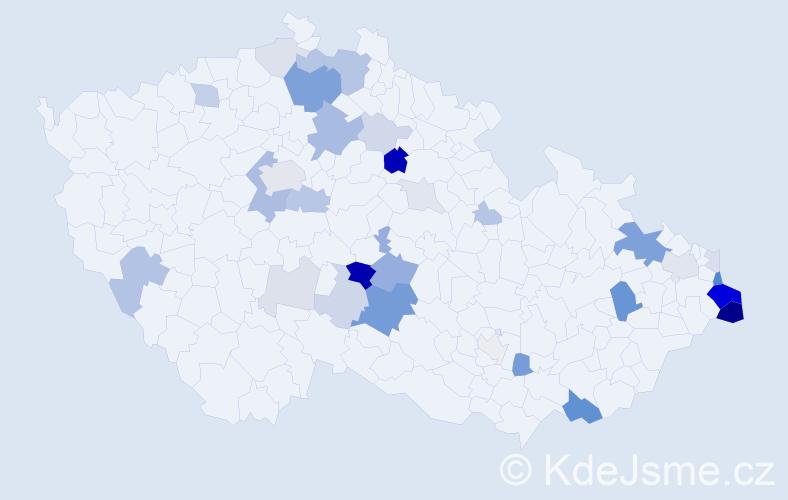 Příjmení: 'Lacek', počet výskytů 106 v celé ČR