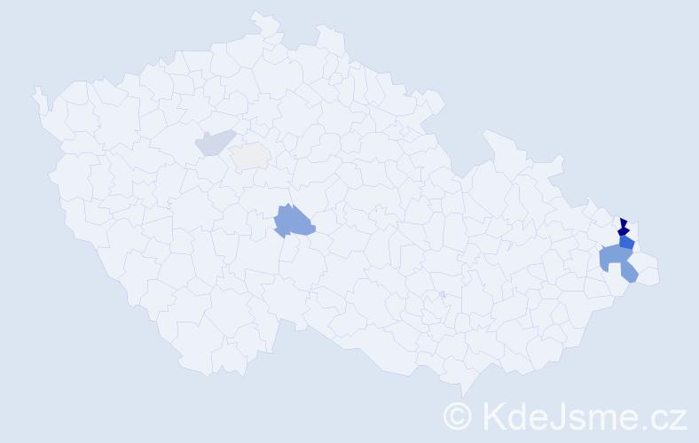 Příjmení: 'Dzurec', počet výskytů 23 v celé ČR
