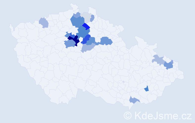 Příjmení: 'Běla', počet výskytů 106 v celé ČR