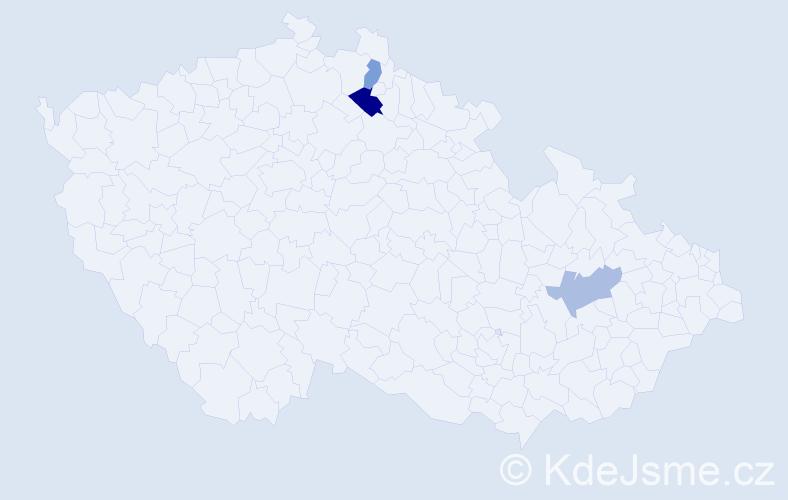 Příjmení: 'Hengal', počet výskytů 4 v celé ČR