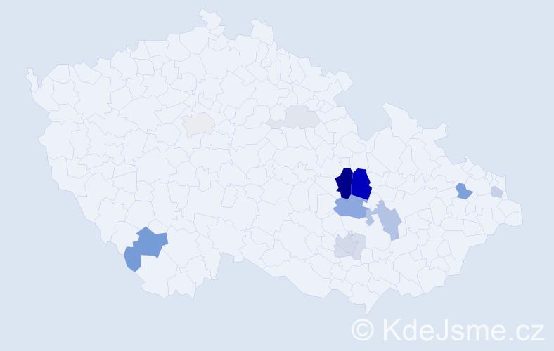 Příjmení: 'Dlábek', počet výskytů 37 v celé ČR