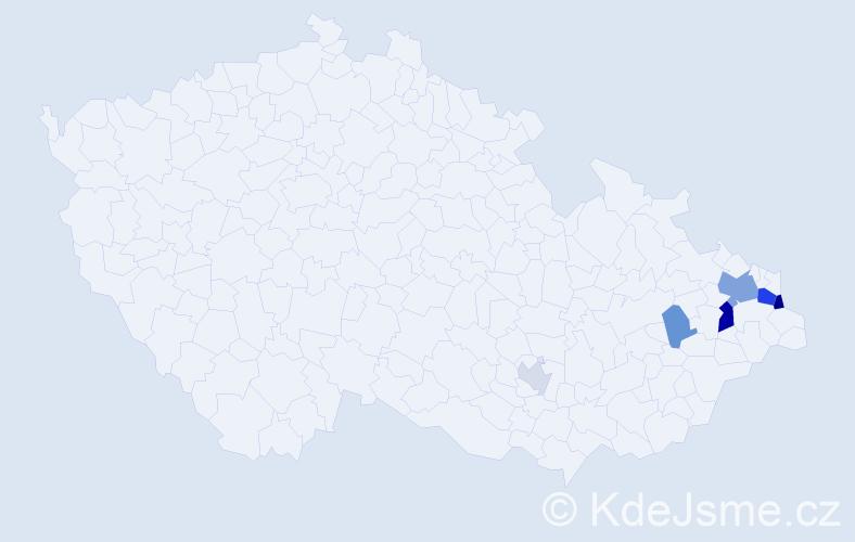 Příjmení: 'Kubalik', počet výskytů 15 v celé ČR