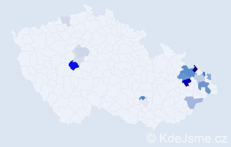 Příjmení: 'Czerný', počet výskytů 50 v celé ČR