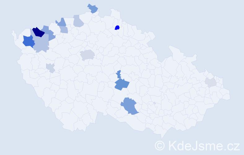 Příjmení: 'Fabryová', počet výskytů 24 v celé ČR