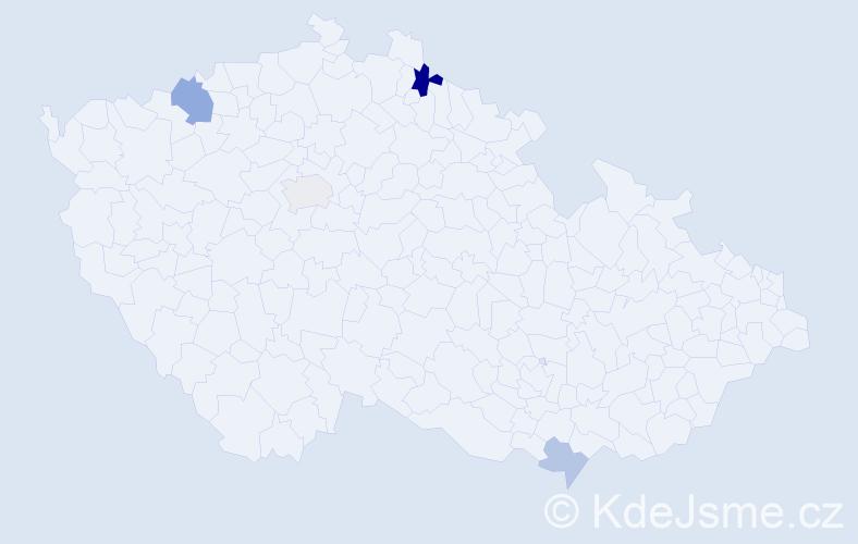 Příjmení: 'Čmudová', počet výskytů 7 v celé ČR