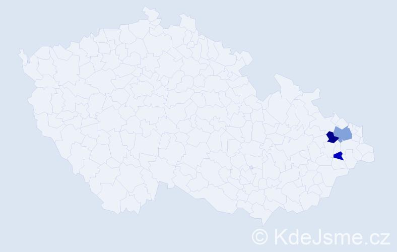 Příjmení: 'Inderský', počet výskytů 11 v celé ČR