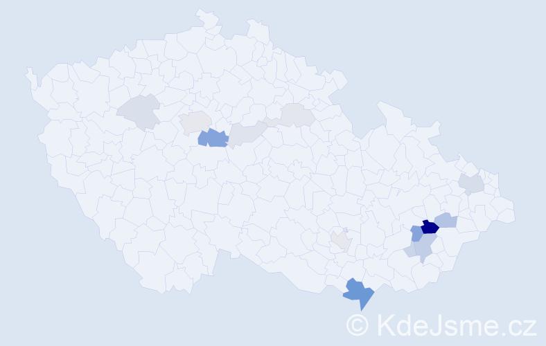 Příjmení: 'Gažda', počet výskytů 42 v celé ČR