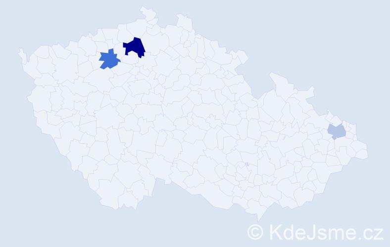Příjmení: 'Gintner', počet výskytů 9 v celé ČR