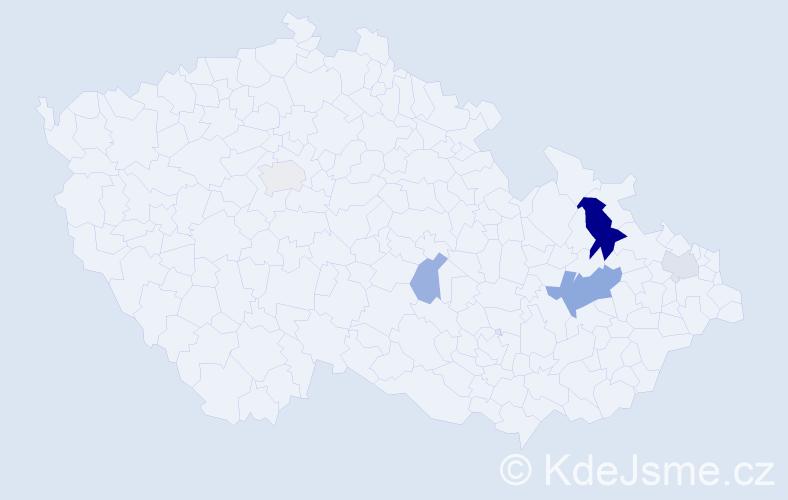 Příjmení: 'Čatlošová', počet výskytů 11 v celé ČR