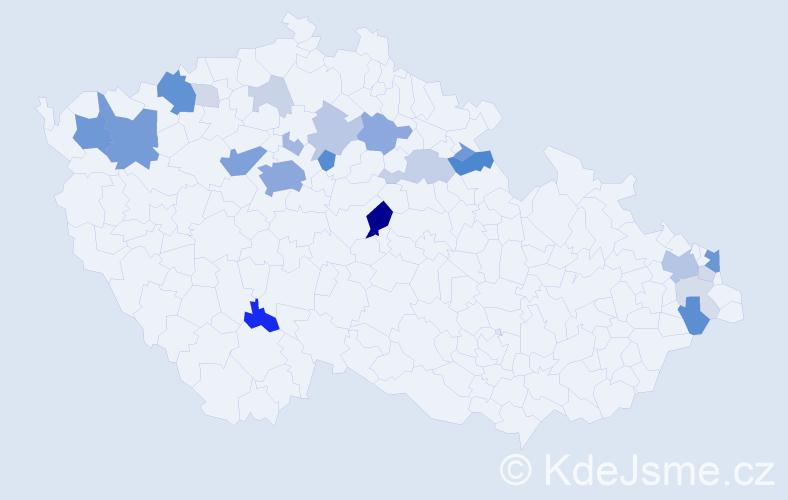 Příjmení: 'Bodyová', počet výskytů 85 v celé ČR