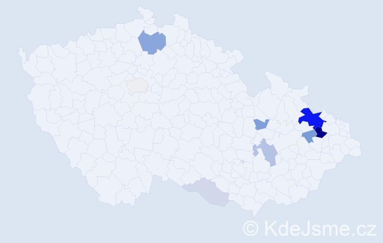Příjmení: 'Dener', počet výskytů 26 v celé ČR