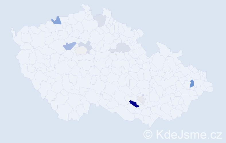 Příjmení: 'Heuer', počet výskytů 18 v celé ČR