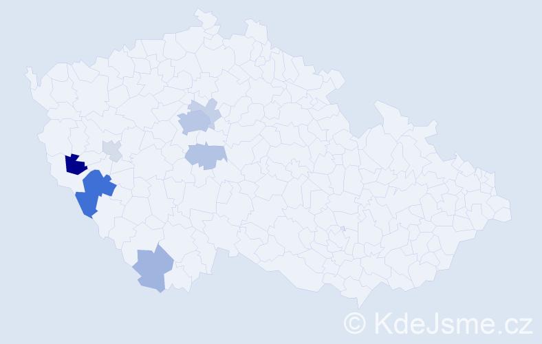 Příjmení: 'Langmayerová', počet výskytů 21 v celé ČR
