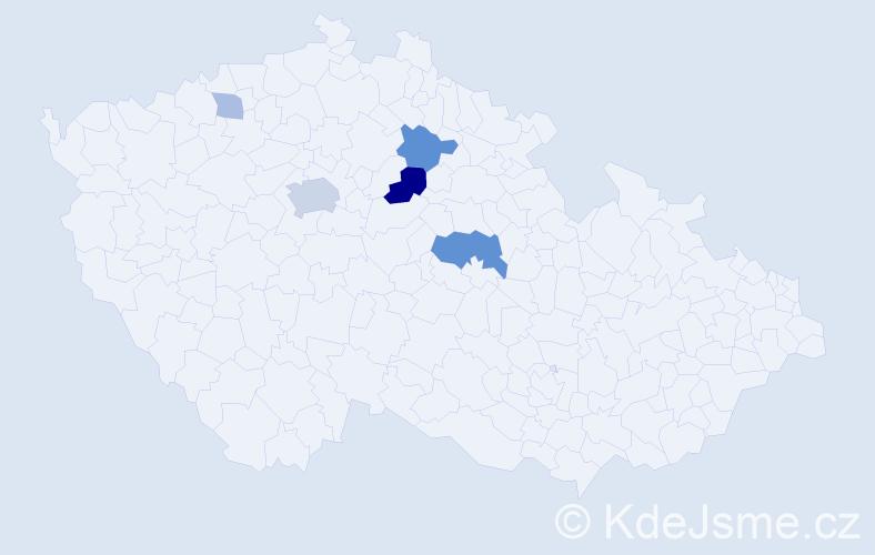 Příjmení: 'Hladina', počet výskytů 14 v celé ČR