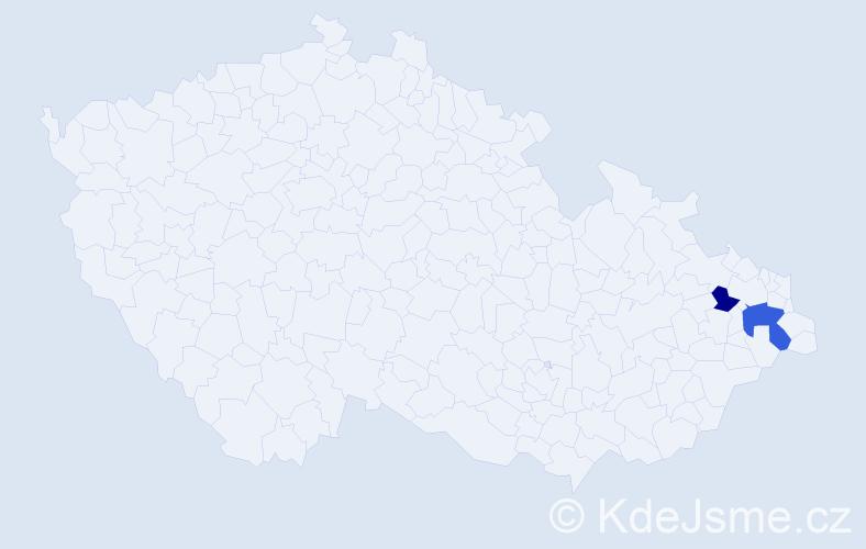 Příjmení: 'Ďuráči', počet výskytů 3 v celé ČR