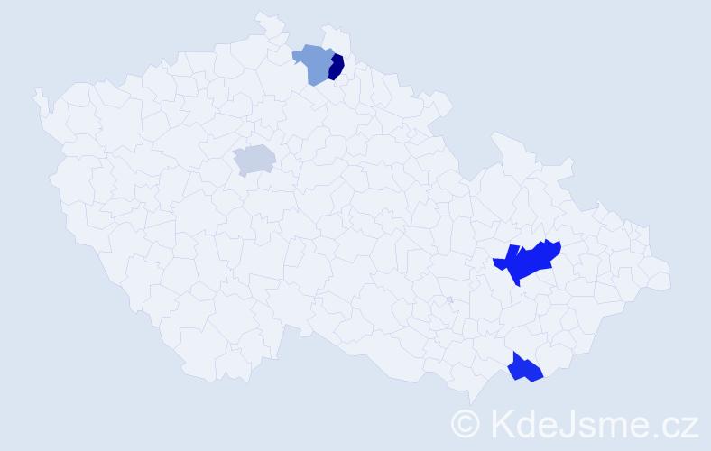 Příjmení: 'Kubschová', počet výskytů 9 v celé ČR
