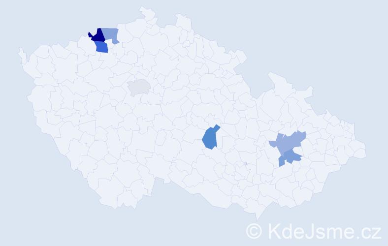 Příjmení: 'Dužek', počet výskytů 9 v celé ČR