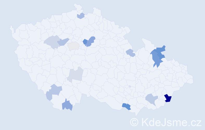 Příjmení: 'Holznerová', počet výskytů 33 v celé ČR