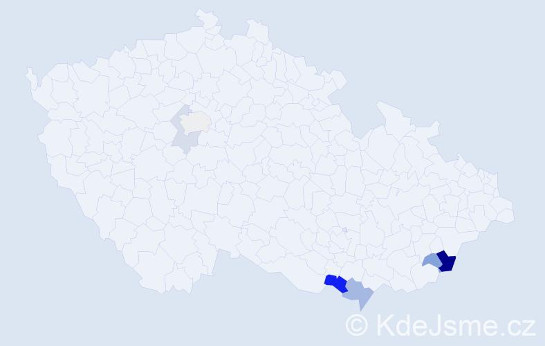 Příjmení: 'Barcůch', počet výskytů 13 v celé ČR