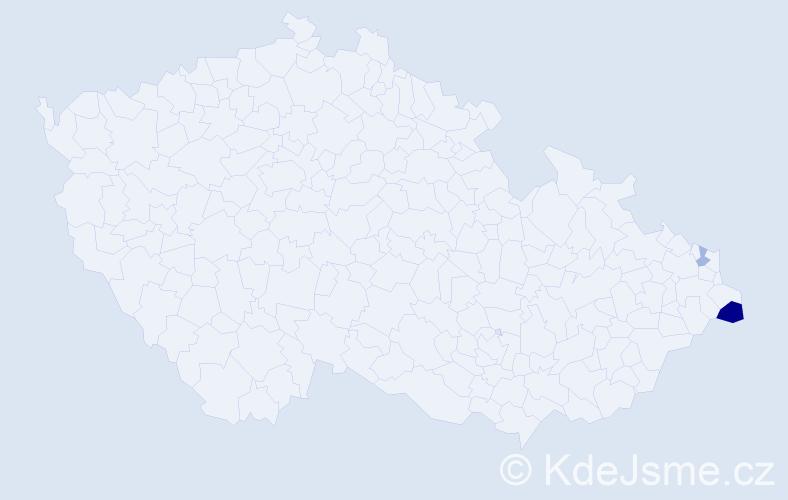 Příjmení: 'Krutak', počet výskytů 4 v celé ČR