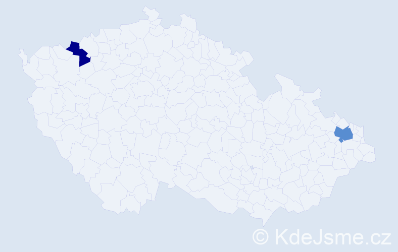 Příjmení: 'Ilie', počet výskytů 3 v celé ČR