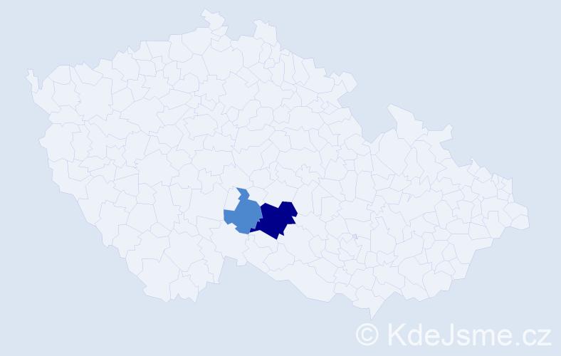 Příjmení: 'Hůry', počet výskytů 14 v celé ČR