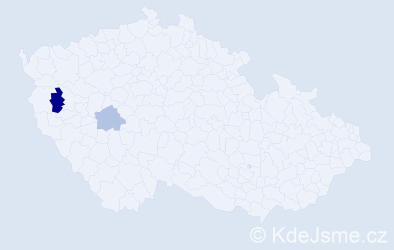 Příjmení: 'Hilbich', počet výskytů 3 v celé ČR