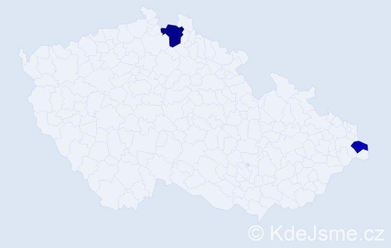 Příjmení: 'Eštuová', počet výskytů 3 v celé ČR