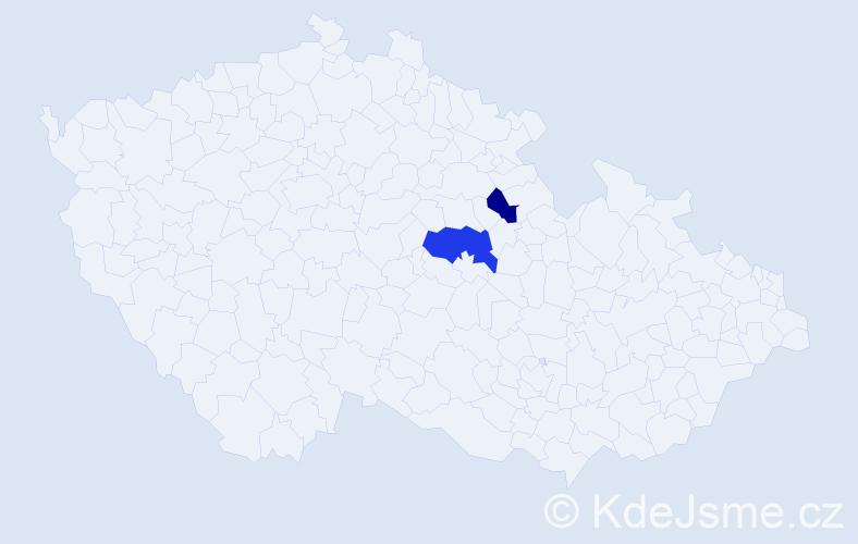 Příjmení: 'Bagáriová', počet výskytů 3 v celé ČR