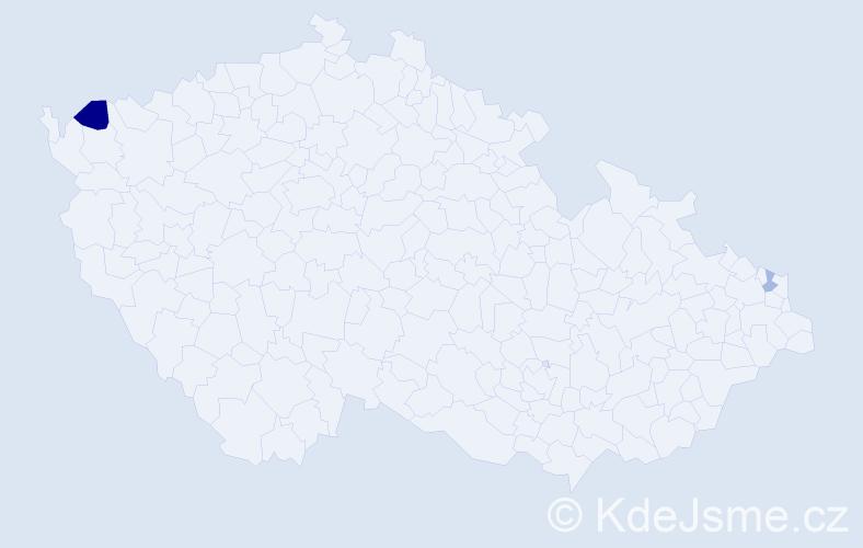 Příjmení: 'Elíz', počet výskytů 3 v celé ČR