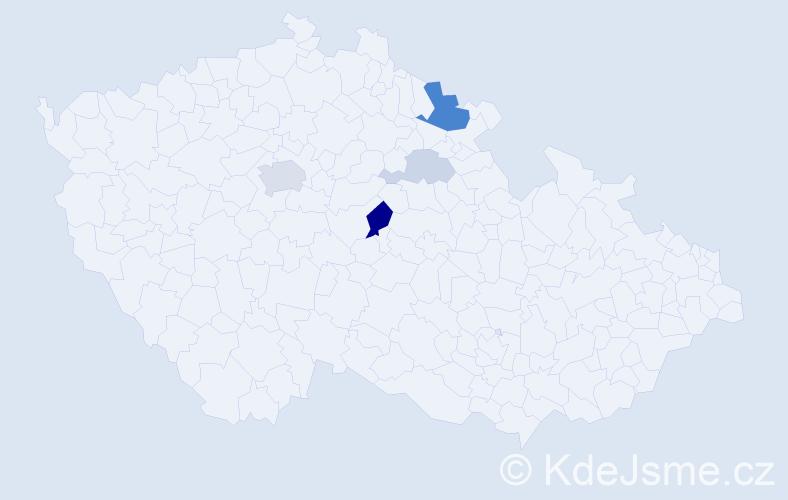 Příjmení: 'Kluh', počet výskytů 12 v celé ČR