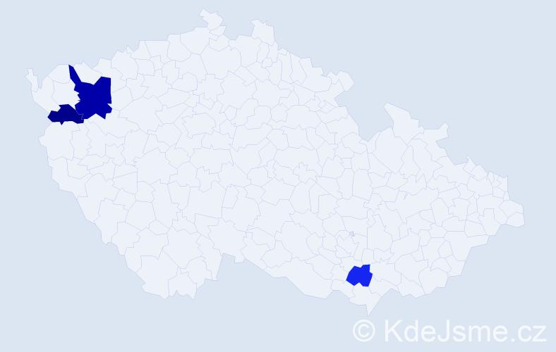 Příjmení: 'Haga', počet výskytů 5 v celé ČR