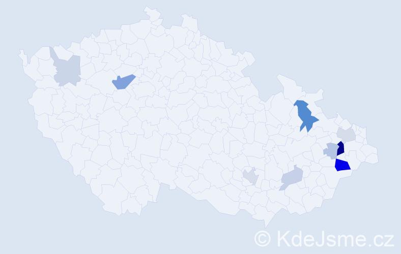 Příjmení: 'Halamík', počet výskytů 26 v celé ČR