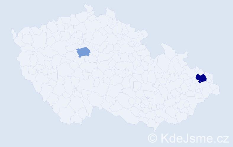 Příjmení: 'Bakay', počet výskytů 4 v celé ČR