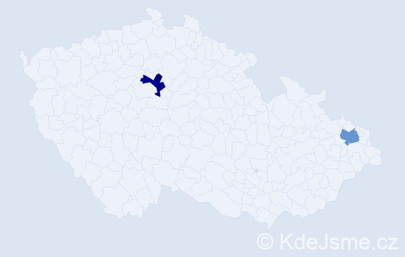 Příjmení: 'Iuseinová', počet výskytů 2 v celé ČR