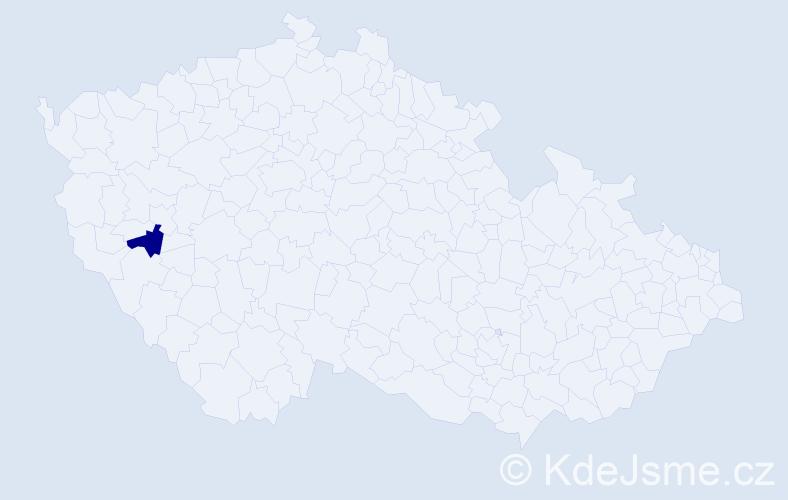 """Příjmení: '""""Hájková Ritterová""""', počet výskytů 1 v celé ČR"""