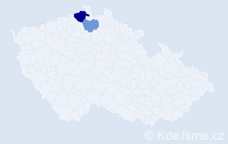 Příjmení: 'Csolláková', počet výskytů 4 v celé ČR