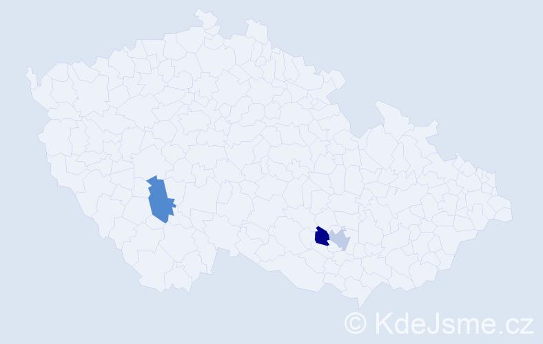 Příjmení: 'Klisky', počet výskytů 6 v celé ČR