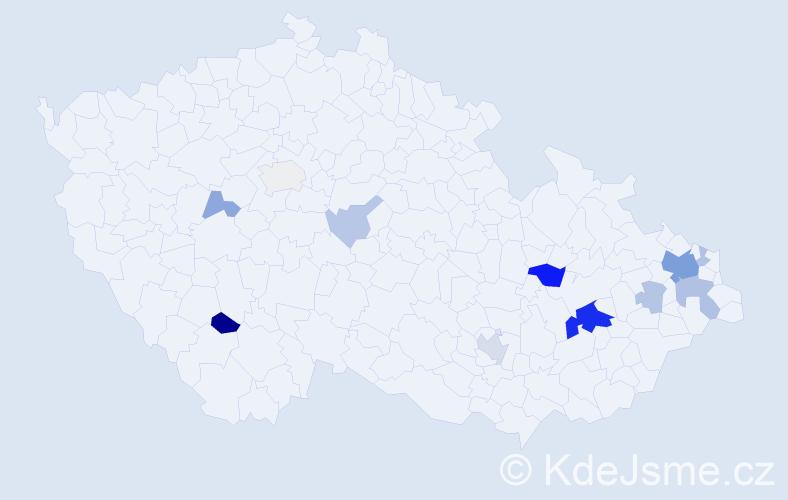 Příjmení: 'Gela', počet výskytů 33 v celé ČR