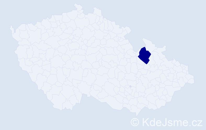 """Příjmení: '""""Čiklová Válková""""', počet výskytů 1 v celé ČR"""